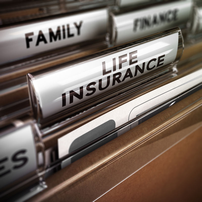 filing cabinet with life insurance section
